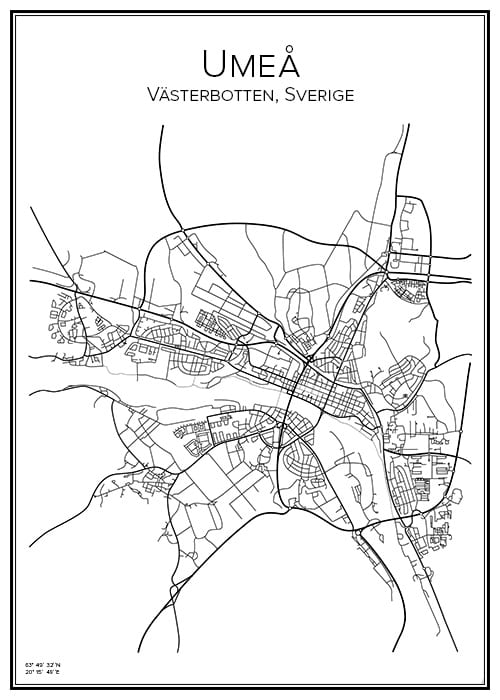 Stadskarta över Umeå