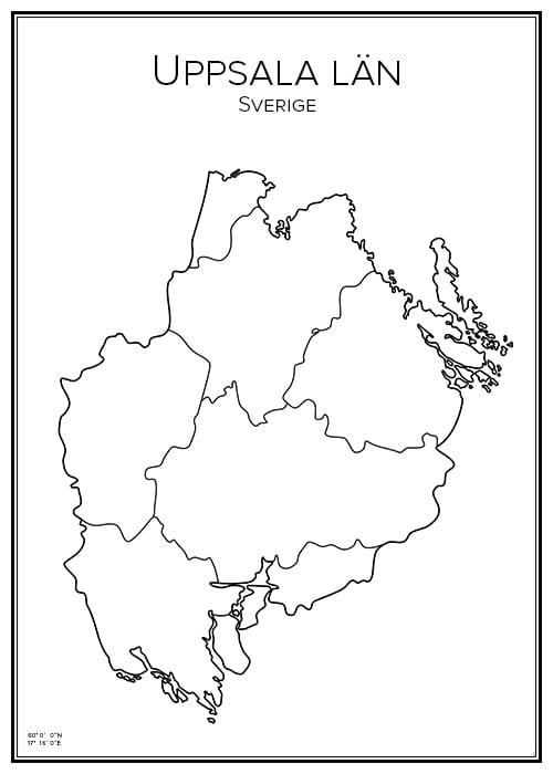 Stadskarta över Uppsala län