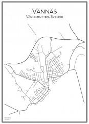 Stadskarta över Vännäs