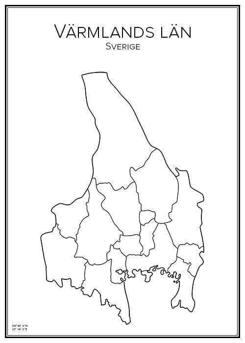 Stadskarta över Värmlands län
