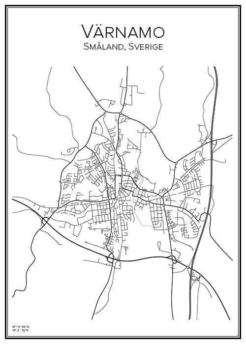 Stadskarta över Värnamo