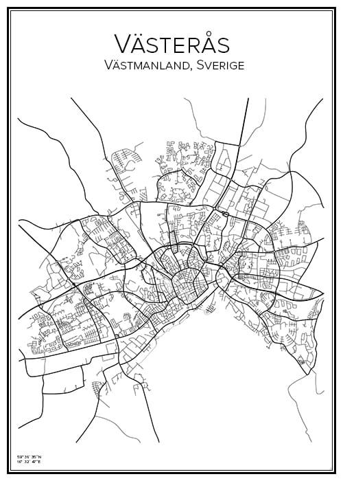 Stadskarta över Västerås
