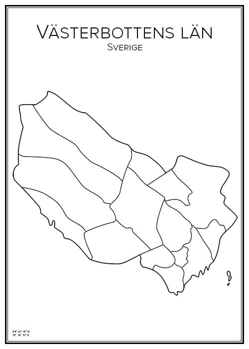 Stadskarta över Västerbottens län