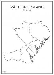 Stadskarta över Västernorrland