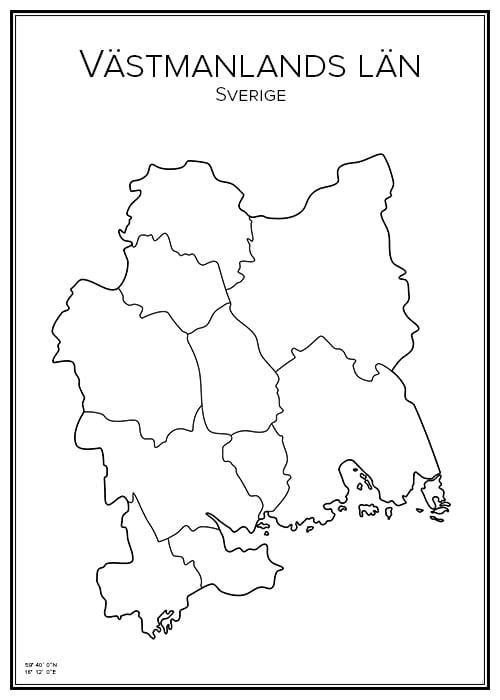 Stadskarta över Västmanlands län