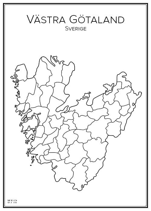 Stadskarta över Västra Götalands län