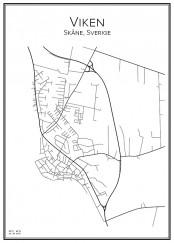 Stadskarta över Viken