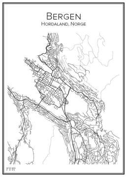 Stadskarta över Bergen