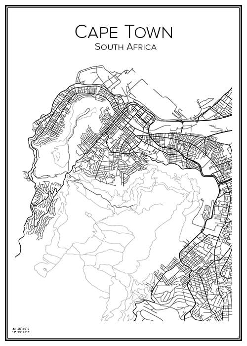 Stadskarta över Cape Town