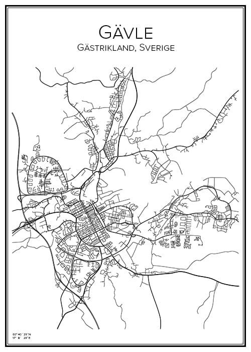 Stadskarta över Gävle