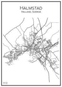 Stadskarta över Halmstad