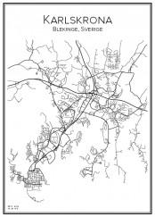 Stadskarta över Karlskrona