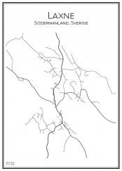Stadskarta över Laxne