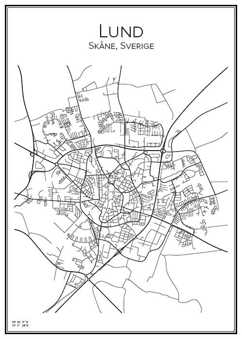Stadskarta över Lund