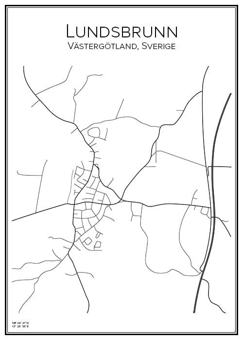 Stadskarta över Lundsbrunn