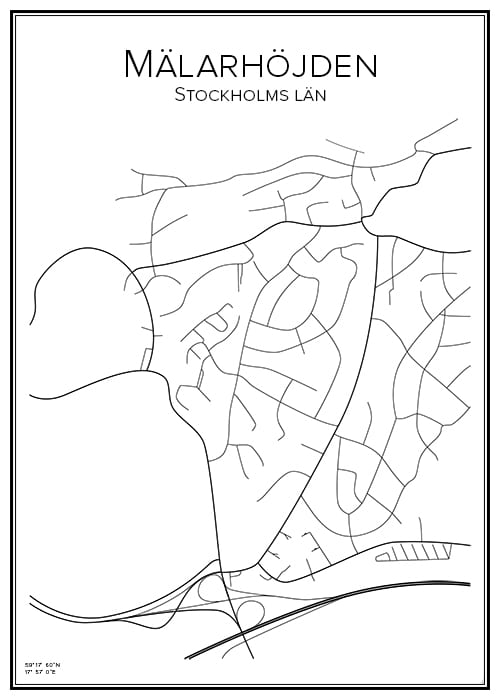Stadskarta över Mälarhöjden