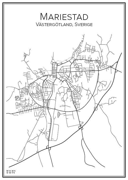 Stadskarta över Mariestad