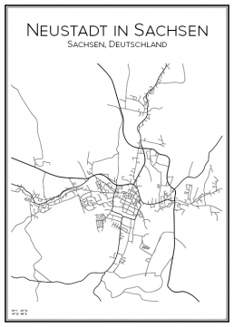 Stadskarta över Neustadt in Sachsen