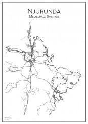 Stadskarta över Njurunda Skärgård