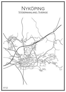 Stadskarta över Nyköping