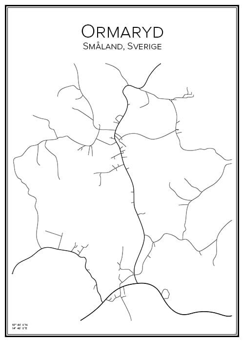 Stadskarta över Ormaryd