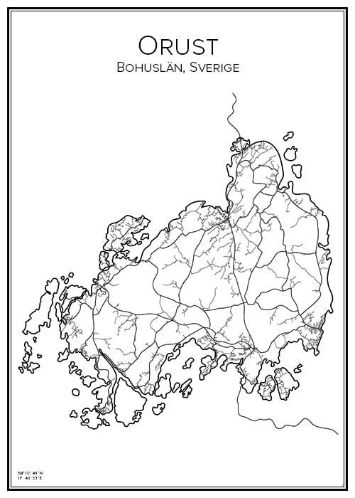 Stadskarta över Orust