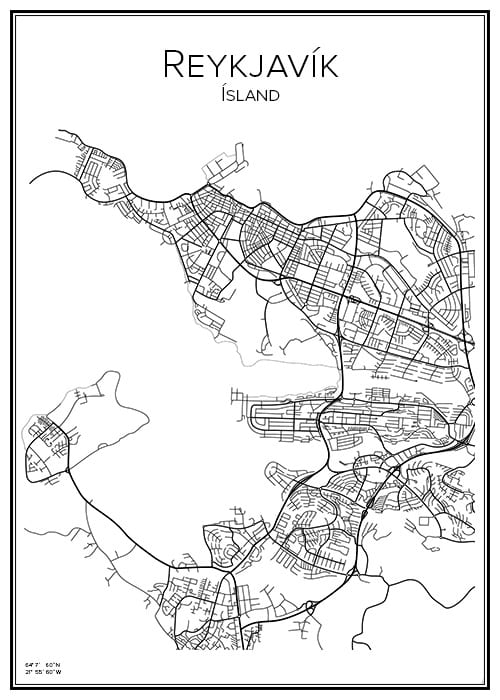 Stadskarta över Reykjavik