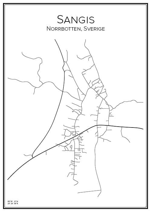 Stadskarta över Sangis