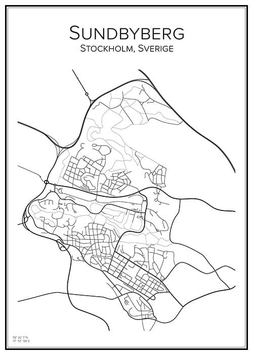 Stadskarta över Sundbyberg