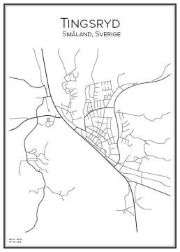 Stadskarta över Tingsryd
