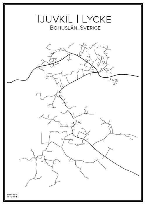 Stadskarta över Tjuvkil och Lycke
