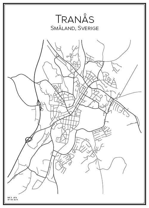 Stadskarta över Tranås