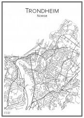 Stadskarta över Trondheim