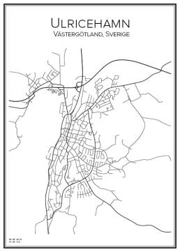 Stadskarta över Ulricehamn