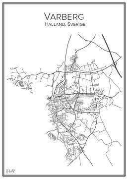 Stadskarta över Varberg