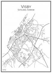 Stadskarta över Visby