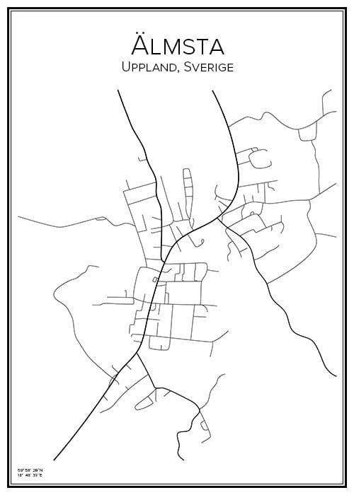 Stadskarta över Älmsta