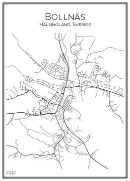Stadskarta över Bollnäs