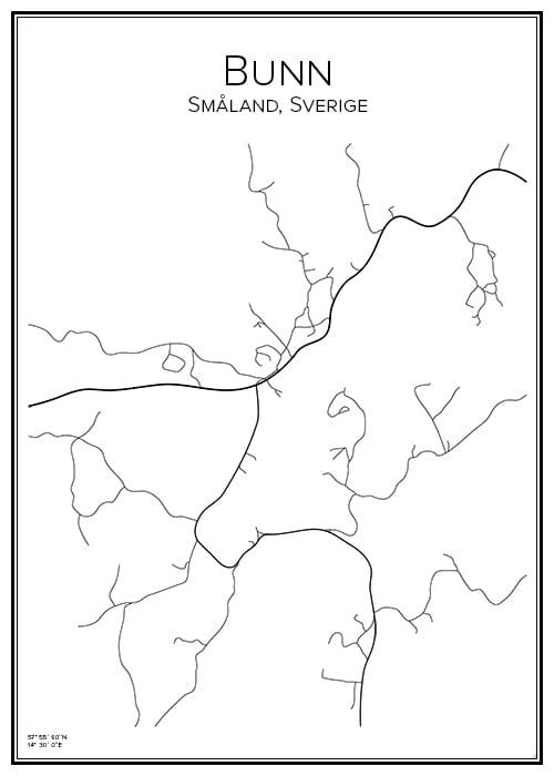 Stadskarta över Bunn