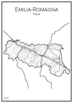 Stadskarta över Emilia-Romagna