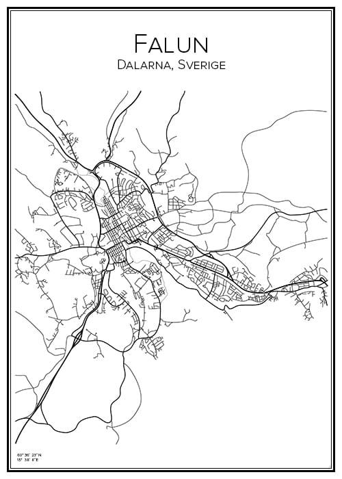 Stadskarta över Falun