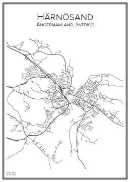 Stadskarta över Härnösand