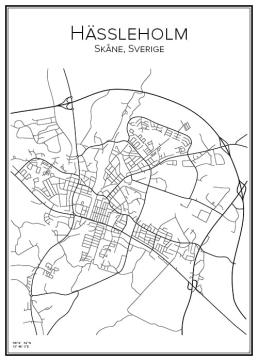 Stadskarta över Hässleholm