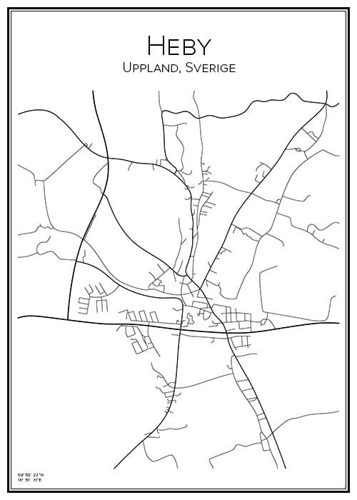 Stadskarta över Heby