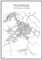 Stadskarta över Huddinge