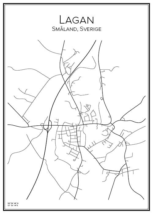 Stadskarta över Lagan