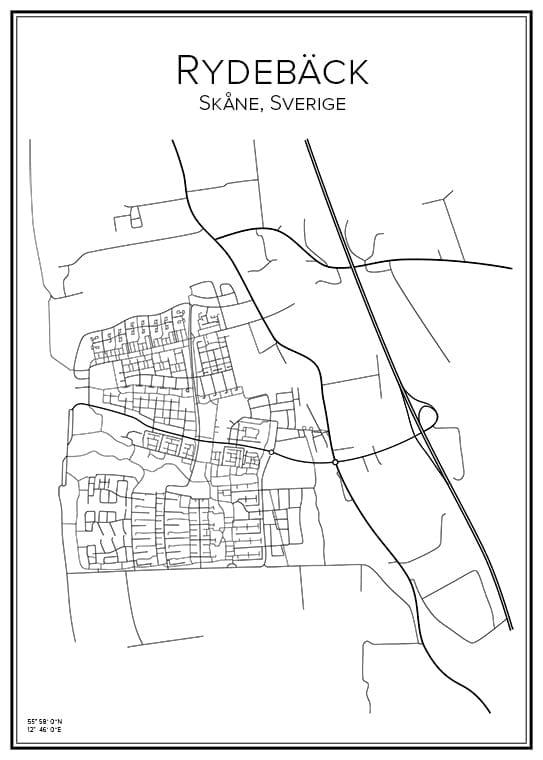 Stadskarta över Rydebäck