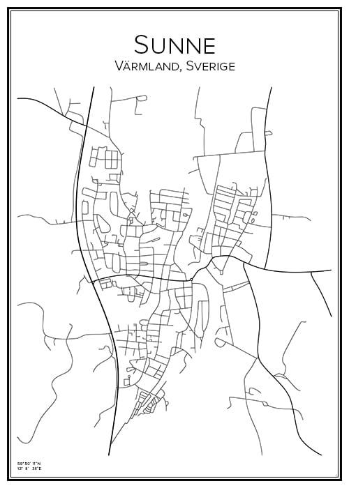 Stadskarta över Sunne