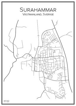 Stadskarta över Surahammar