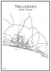 Stadskarta över Trelleborg
